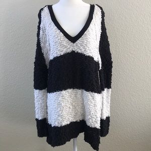 Free People Oversized Black & White Sweater